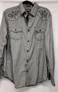 Helix Men's Size L Button Down Long Sleeve Embroid